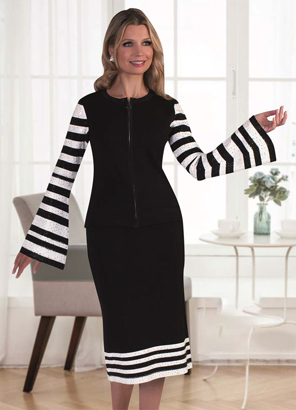 Kayla 5200-BlackWhite Striped Bell Sleeve Skirt Set With Rhinestone Details