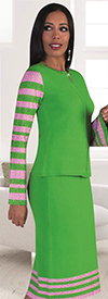 Kayla 5200-LimePink Striped Bell Sleeve Skirt Set With Rhinestone Details