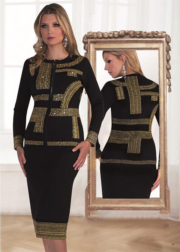 Kayla 5201 Knit Skirt Suit With Unique Rhinestone Details