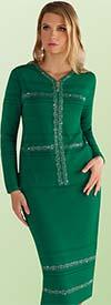Kayla 5178 Rhinestone Trimmed Textured Knit Skirt Suit