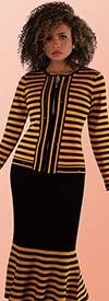 Kayla 5202-Mustard / Black - Two Piece Striped Design Knit Suit With Flared Hemline Skirt