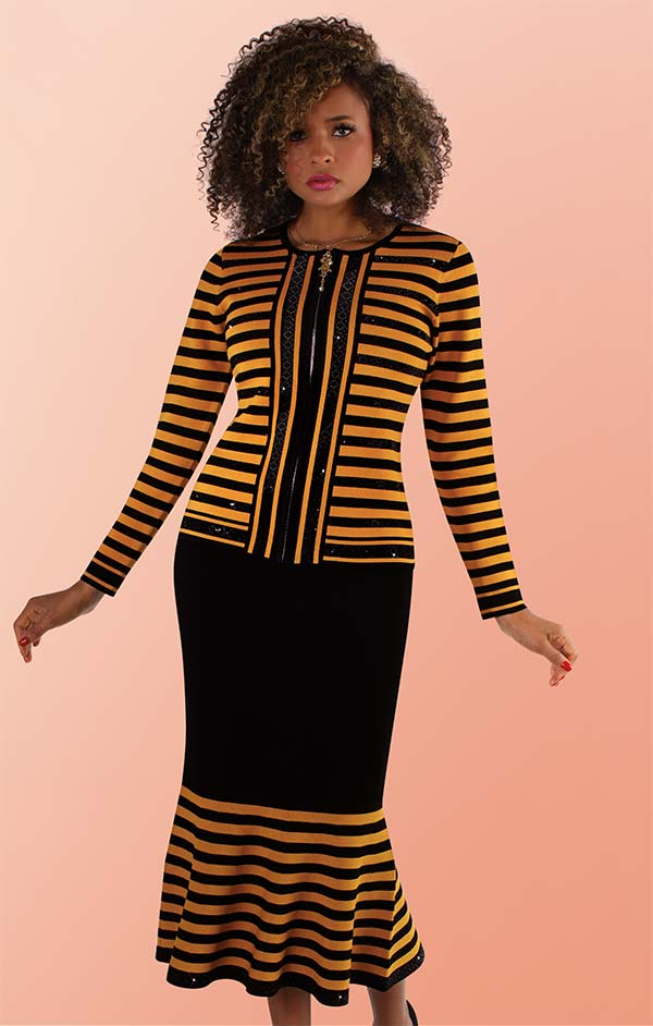Kayla 5202 Two Piece Striped Design Knit Suit With Flared Hemline Skirt