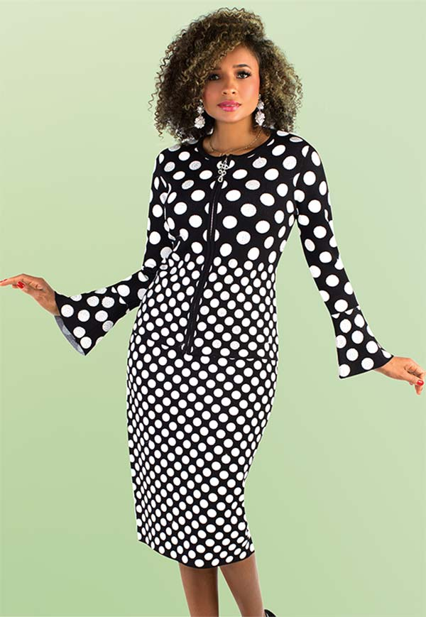Kayla 5203 Knit Bell Cuff Sleeve Skirt Suit In Polka Dot Design With Rhinestone Detail