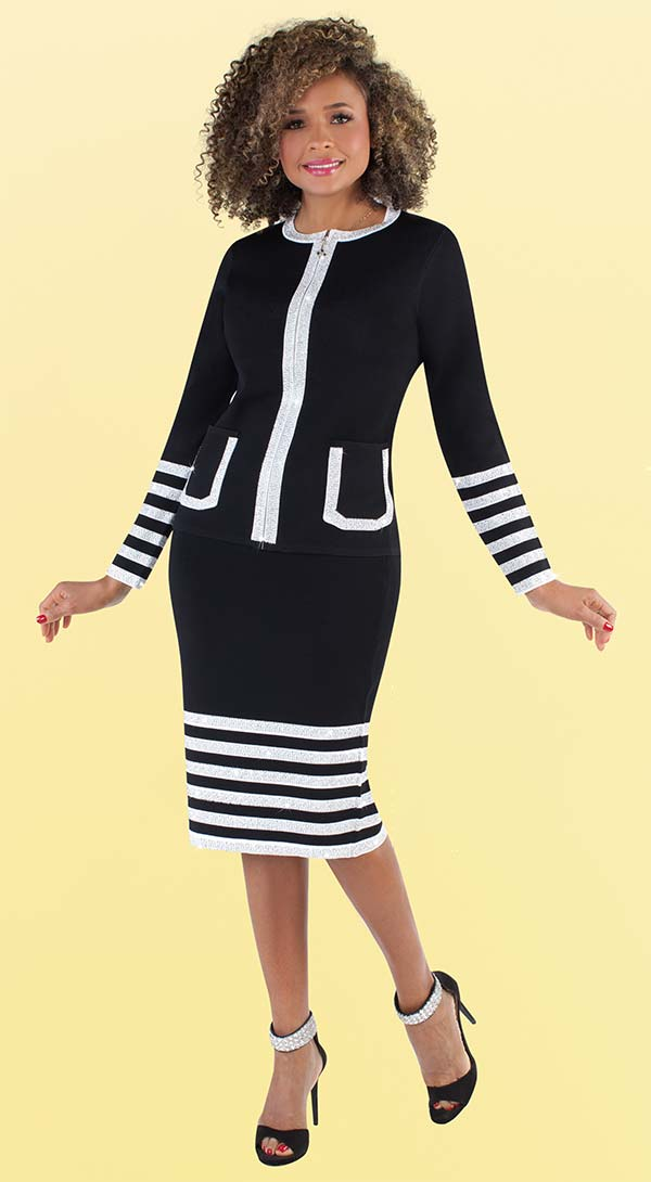 Kayla 5204 Rhinestone Embellished Knit Skirt Suit In Multi Striped Design