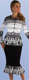 Kayla 5205 Two Tone Pattern Knit Suit With Flounce Skirt