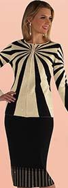 Kayla 5206 Two Piece Geometric Striped Design Knit Suit With Rhinestone Detail