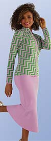 Kayla 5207 Two Piece Knit Skirt Suit With Chevron Pattern Jacket