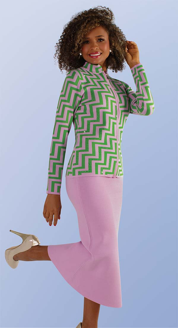 Kayla 5207 Two Piece Knit Skirt Suit With Chevron Pattern Jacket