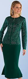 Kayla 5210-Green - Rhinestone Detail Pattern Knit Jacket & Mermaid Flare Skirt Suit