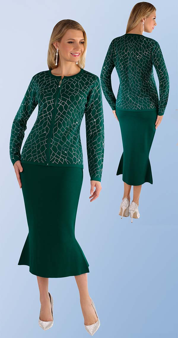 Kayla 5210-Green - Rhinestone Detail Pattern Knit Jacket & Mermaid Flare Skirt Suit