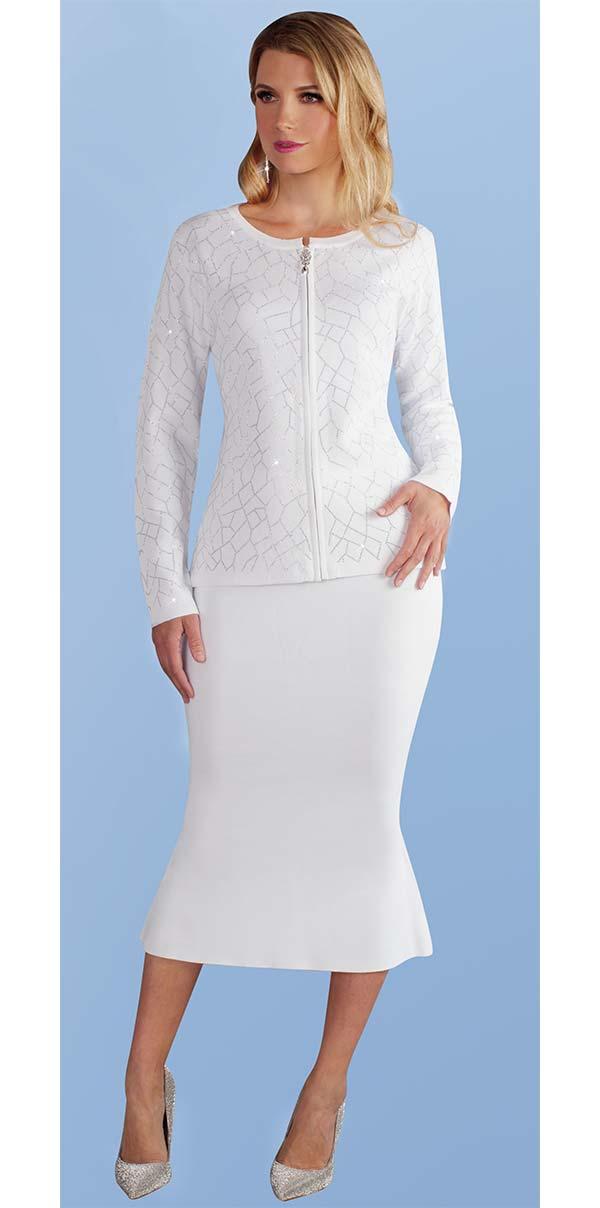 Kayla 5210-White - Rhinestone Detail Pattern Knit Jacket & Mermaid Flare Skirt Suit