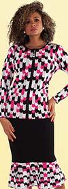 Kayla 5212 Womens Knit Suit In Multi Striped Design With Flounce Hem Skirt