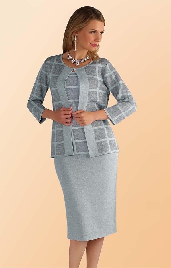 Kayla 5214 Three Piece Knit Skirt Suit In Window Pane Pattern With Three Quarter Sleeve Jacket