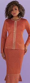 Kayla 5216 Gold Metallic Two Piece Knit Church Suit With Flounce Hemline Skirt