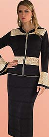 Kayla 7227 Three Piece Two Tone Design Knit Suit With Bell Cuff Sleeves