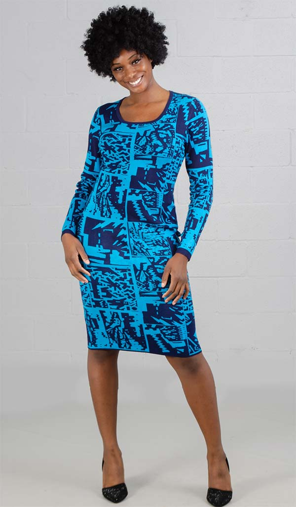 Kayla 5093 Womens Dress In Two-Tone Jacquard Knit Fabric