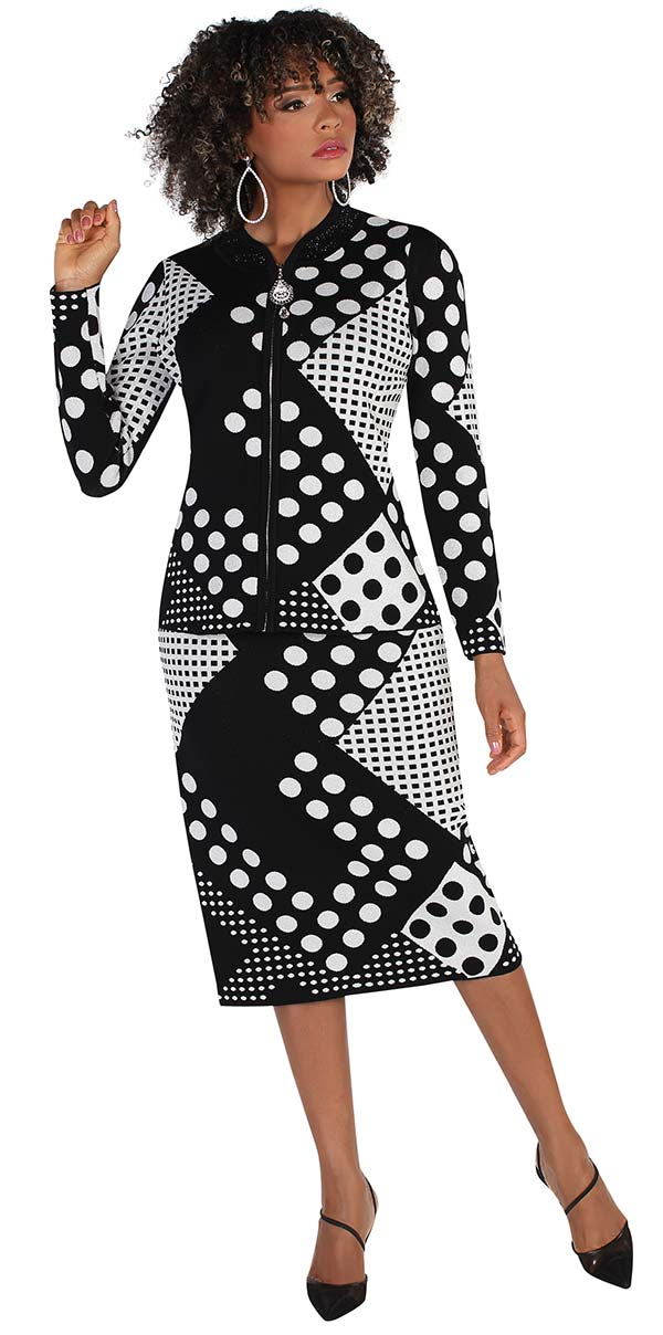 Kayla 5220-BlackSilver - Polka Dot Print Design Ladies Knit Skirt Suit With Rhinestone Details
