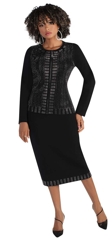 Kayla 5222 - Womens Knit Fabric Suit With Rectangular Embellished Trim On Skirt And Jacket