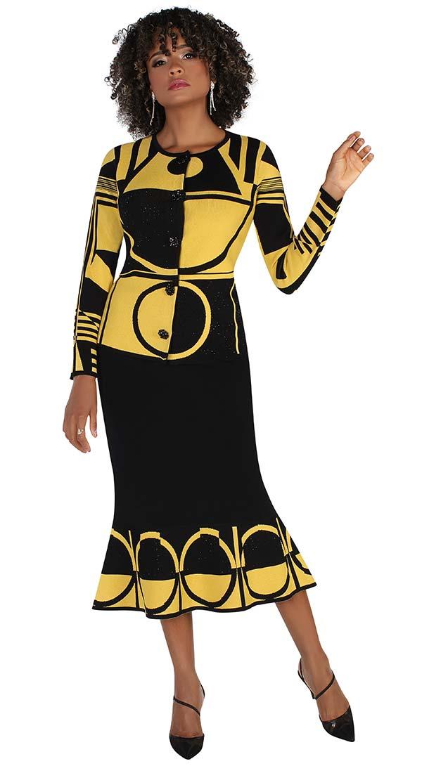 Kayla 5223 Geometric Print Design Two Piece Womens Knit Skirt Suit