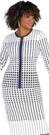Kayla 5224 Womens Knit Skirt Suit In Houndstooth Variation Pattern Design