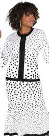 Kayla 5225 Ladies Knit Fabric Skirt Suit In Polka-Dot Pattern Design