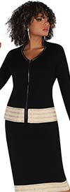 Kayla 5227 - Womens Knit Fabric Skirt Suit With Arrowhead Neckline Jacket And Embellished Trim