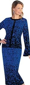 Kayla 5228-BlackRoyal - Abstract Print Design Two Piece Womens Knit Skirt Suit With Bell Sleeves