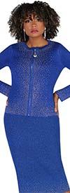Kayla 5229 - Womens Rhinestone Embellished Knit Skirt Suit With Zipper Front Jacket