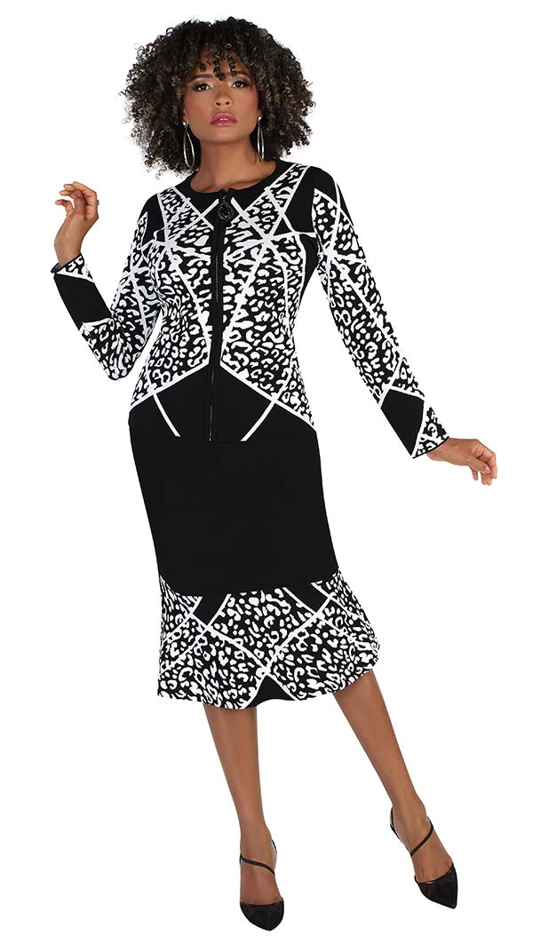 Kayla 5230 Two Piece Womens Knit Skirt Suit With Animal Print Design