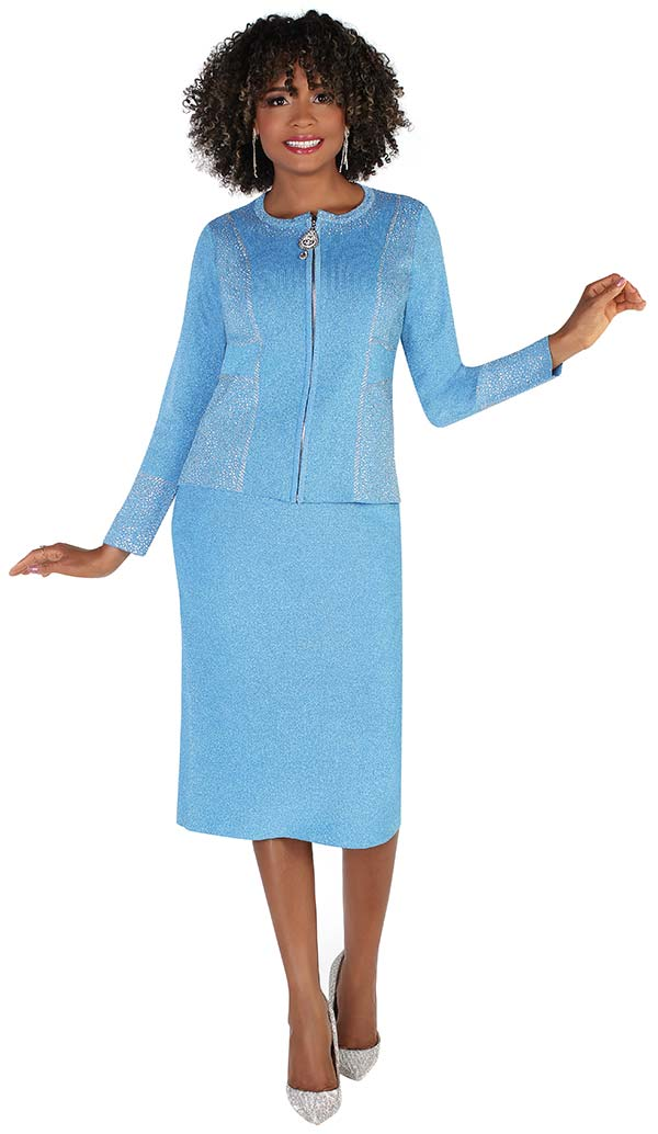 Kayla 5231-Blue - Embellished Zipper Front Design Jacket And Skirt Suit In Knit Fabric