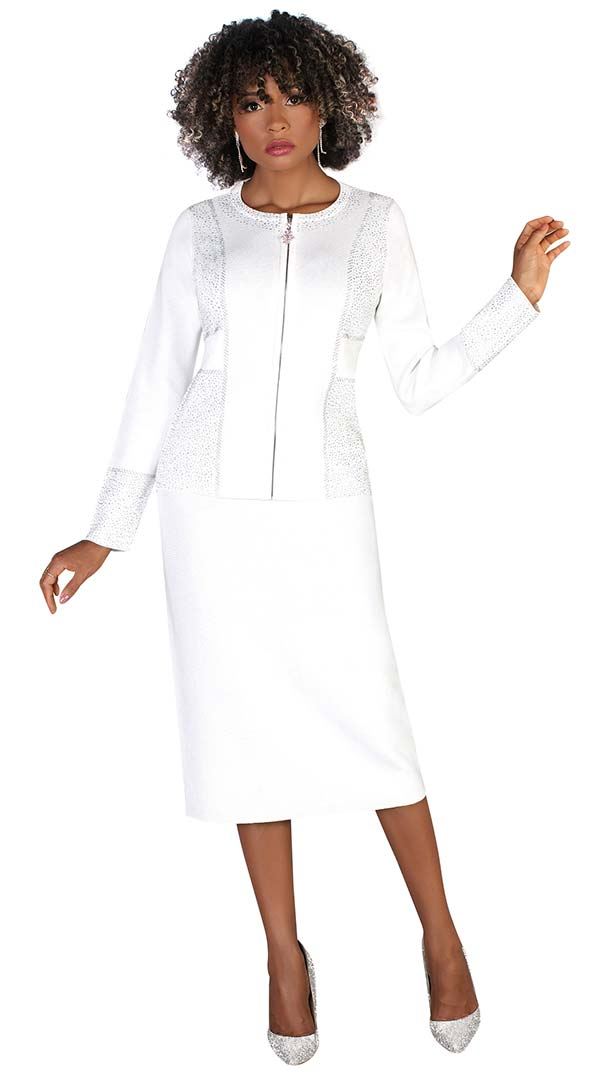 Kayla 5231-White - Embellished Zipper Front Design Jacket And Skirt Suit In Knit Fabric
