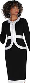 Kayla 5232 - Womens Knit Fabric Suit With Embellished Trim On Jacket And Skirt