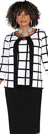 Kayla 5233 - Womens Three Piece Knit Fabric Skirt Suit With Single Neckline Enclosure Jacket