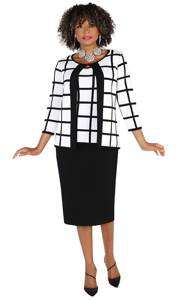 Kayla 5233 - Womens Three Piece Knit Fabric Skirt Suit With Single Neckline Enclosure Jacket