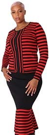 Kayla 5202-Red / Black - Two Piece Striped Design Knit Suit With Flared Hemline Skirt