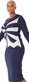 Kayla 5250 - Two Piece Two-Tone Starburst Design Womens Knit Skirt Suit