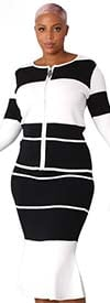 Kayla 5252 - Two-Tone Stripe Design Womens Knit Skirt Suit With Bell Cuff Sleeves