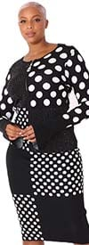 Kayla 5253 - Polka-Dot Knit Skirt Suit With Black Rhinestones And Flare Sleeves