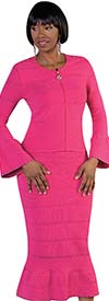 Kayla 5176-Fuchsia Knit Mermaid Skirt Suit With Flared Sleeves