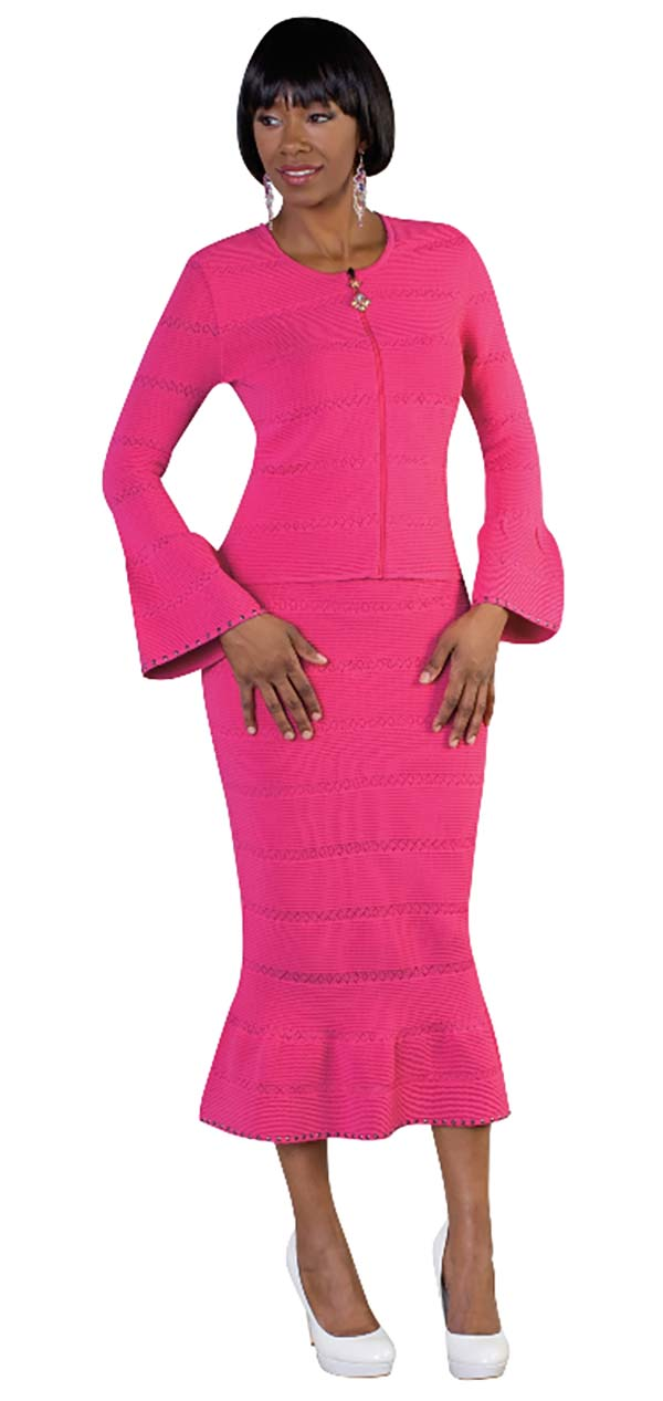 Kayla 5176-Fuchsia Knit Mermaid Skirt Suit With Flared Sleeves