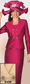 Clearance Lily and Taylor 4009 - Silky Twill Skirt Suit With Short Stand Up Collar