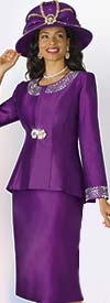 Lily and Taylor 3800 - Silky Twill Skirt Set With Rhinestone Embellished Trims