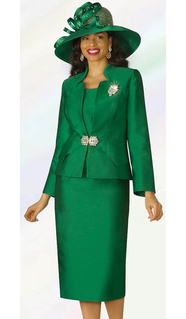 Lily and Taylor 3953 - Silky Twill Fabric Skirt Set With Star Neckline Jacket