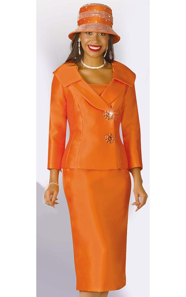 Lily and Taylor 3961 - Silky Twill Skirt Set With Wrap Style Jacket & Layered Lapels