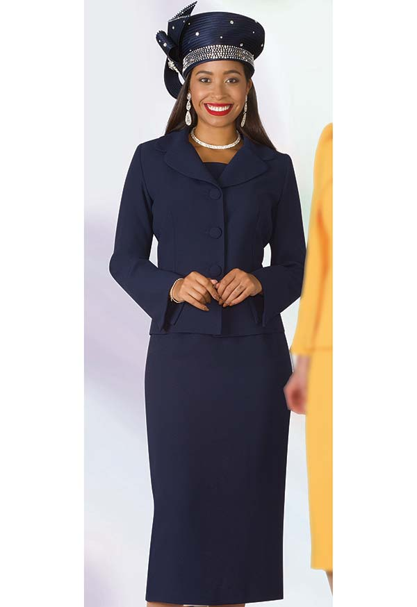 Lily and Taylor 4063 - Crepe Fabric Skirt Set With Notch Lapels