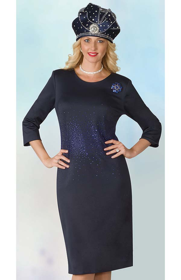 Lily and Taylor 4090 - Scuba Fabric Dress Embellished With Rhinestones