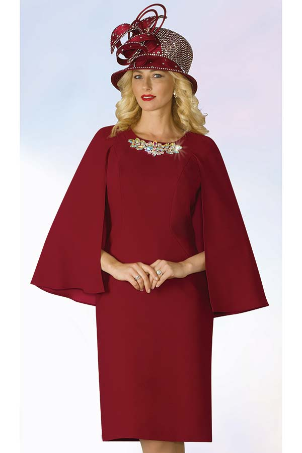 Lily and Taylor 4091 - Embellished Crepe Fabric Church Dress With Cape