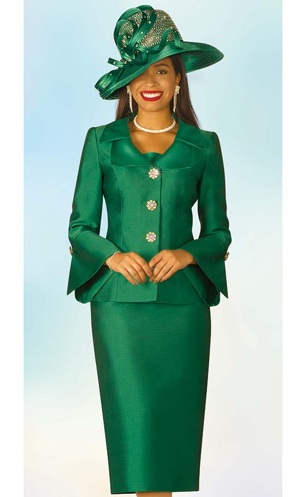 Lily and Taylor 4107 - Silky Twill Fabric Skirt Set With Bell Sleeves