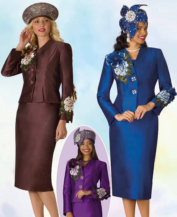 Lily and Taylor 4122 - Silky Twill Fabric Skirt Outfit With Embroidery Trim Accents