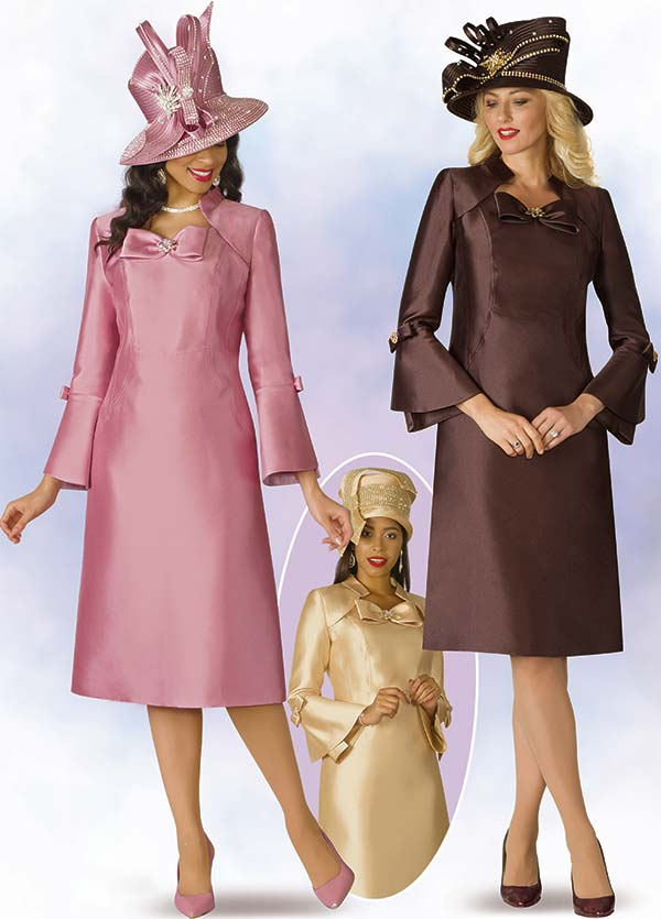 Lily and Taylor 4124 - Silky Twill Fabric Dress With Bell Sleeves & Bow Adornment